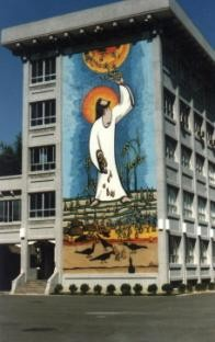 「上承天糧,下播佳禾」的大壁畫